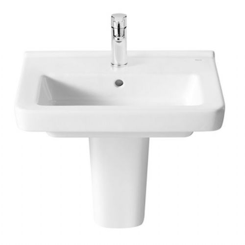 Roca Dama-N Compact Square Basin With Semi Pedestal - 500mm - 1 Tap Hole - White